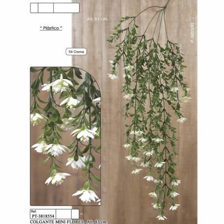 Planta colgante plastico con flores