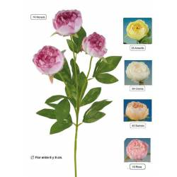 Rama con 3 flores artificiales peonias