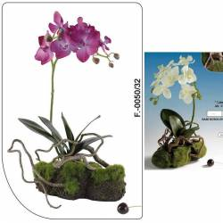 Orquidea artificial en base de musgo
