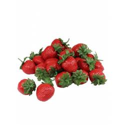 Fresas artificiales de plastico 24 unidades