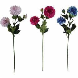 Branca dalia artificial amb 2 flors i 1 capoll