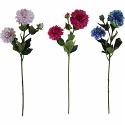 Rama dalia artificial con 2 flores y 1 capullo