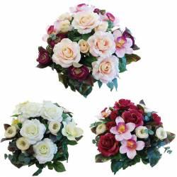 Ramo flores artificiales rosas y cymbidium
