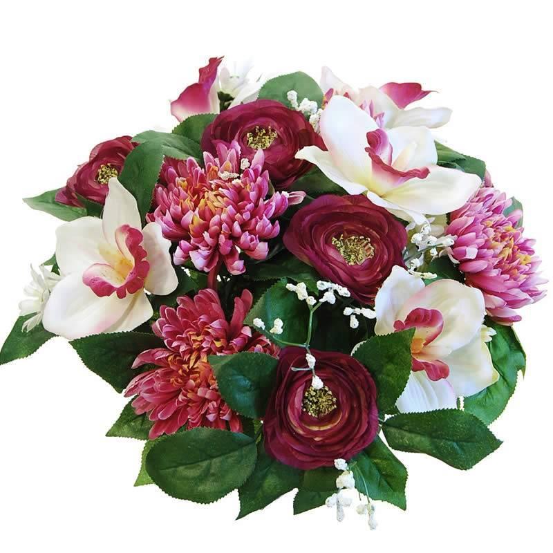 Ramo flores artificiales cymbidium y mum oasis decor for Plantas ornamentales artificiales