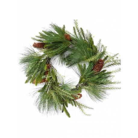 Corona navidad grande con pino artificial