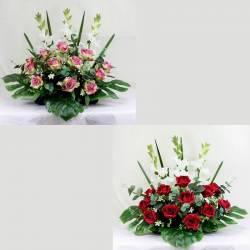 Jardinera flores artificiales cementerio rosas y gladiolos