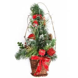 Adorno cesta de navidad pared pino artificial