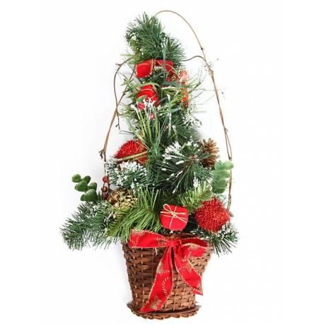 Cesta de navidad pared pino artificial
