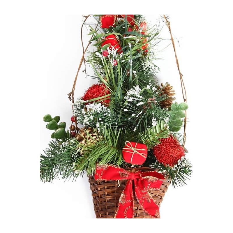 Adorno cesta de navidad pared pino artificial Oasis Decor
