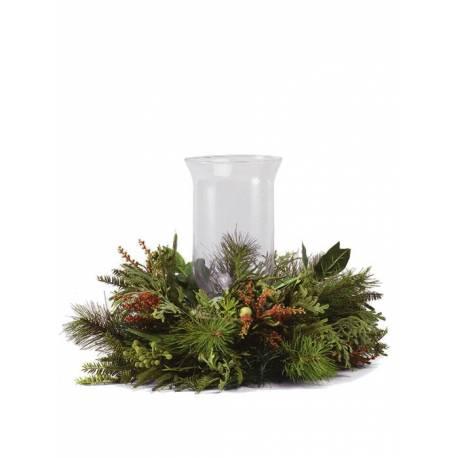 Centro navidad grande corona pino artificial con cristal