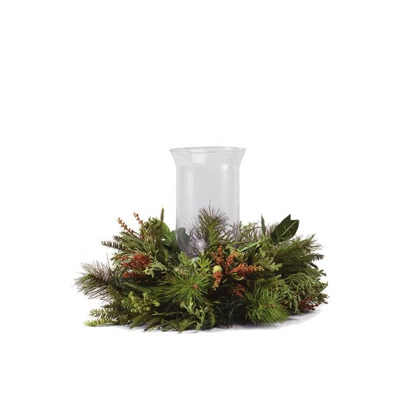 Centro navidad grande corona pino artificial con cristal Oasis Decor