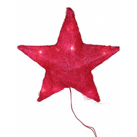 Estrella sisal roja grande con luces led