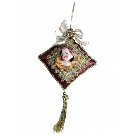 Adorno cojin angel navidad colgante