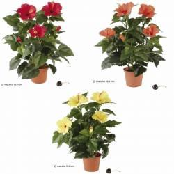 Planta artificial hibiscus con maceta