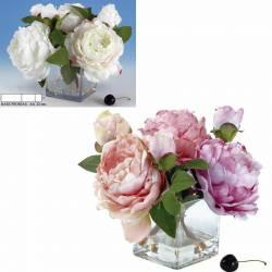Pequeño bouquet flores peonias artificiales en base de cristal