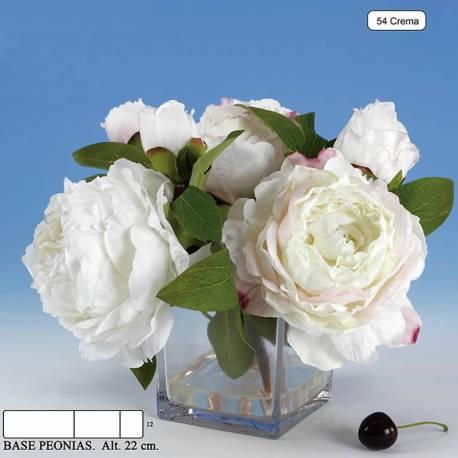 Xicotet buquet flors peonies artificials en base de cristall