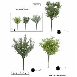 Picks hierbas artificiales de plastico surtidas (Pac de 3)