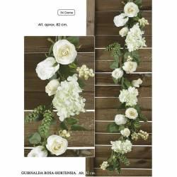 Guirnalda con rosas y hortensias artificiales