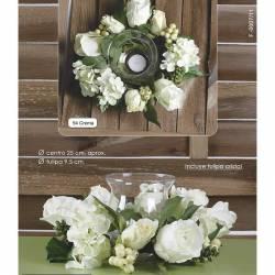 Centro hortensias y rosas artificiales