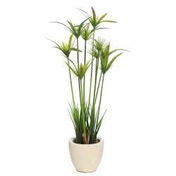 Planta papiro artificial en maceta de cemento