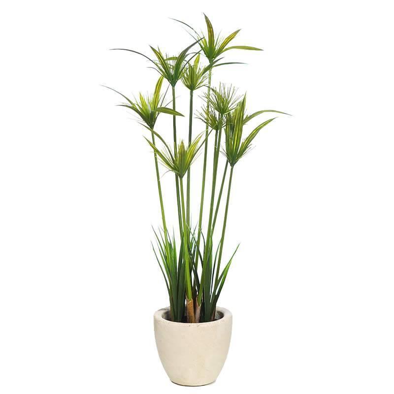 Planta papiro artificial en maceta de cemento oasis decor - Planta artificial ...