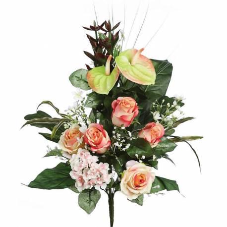 Ramo flores artificiales rosas y anthurium