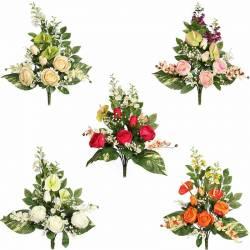Ramo flores artificiales cementerio capullos rosas y anthurium