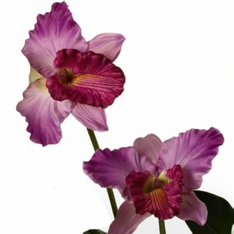 Orquideas artificiales doble flor con hojas y raices