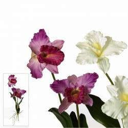 Orquideas artificiales doble flor con hojas y raices