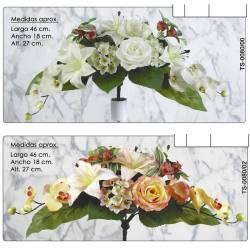 Ramo horizontal flores artificiales cementerio rosas y lilium
