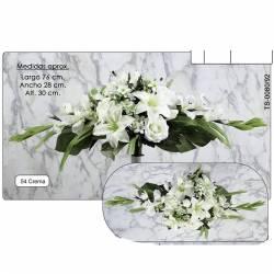 Ramo horizontal flores artificiales cementerio gladiolos y lilium