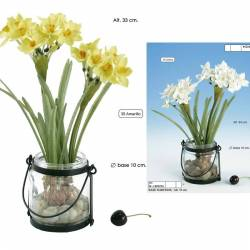 Pot cristall amb narcisos artificials
