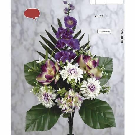 Ramo flores artificiales cementerio delfinium y cymbidium
