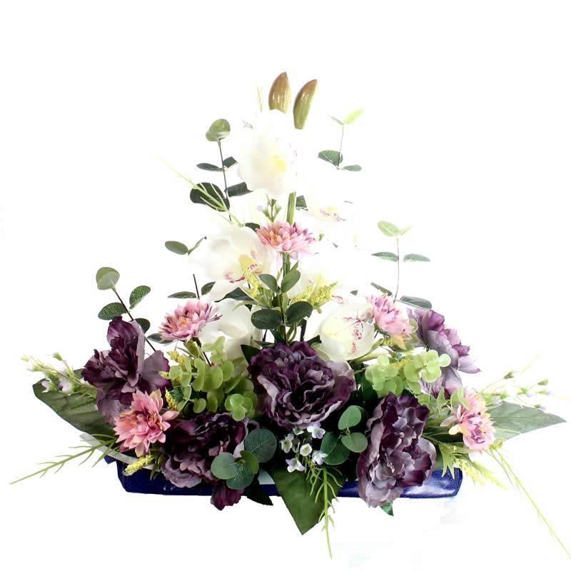 Jardinera flores artificiales cementerio con peonias y - Jardineras con plantas ...