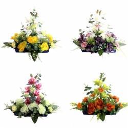 Jardinera flores artificiales cementerio con peonias y cymbidium