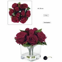 Base cristal agua simulada rosas rojas artificiales