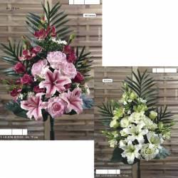 Ramo flores artificiales cementerio lilium y rosas