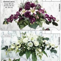 Ramo horizontal flores artificiales cementerio orquideas eucaliptus