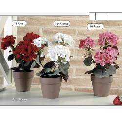 Planta geranio artificial pequeño con maceta
