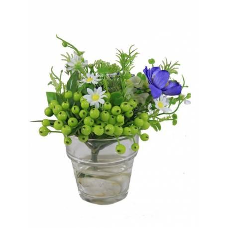 Centro vaso pequeño berry artificial con agua solida