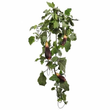 Planta artificial que penja amb albergines de plastic