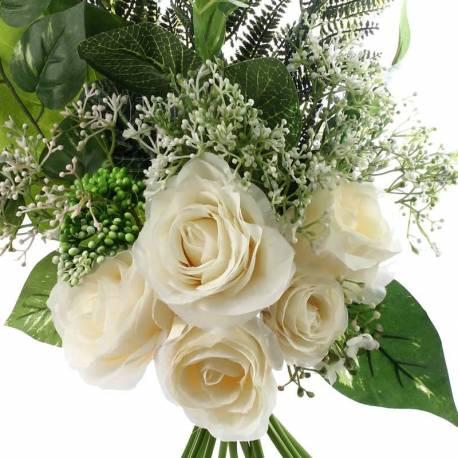 Buquet flors artificials roses i falaguera
