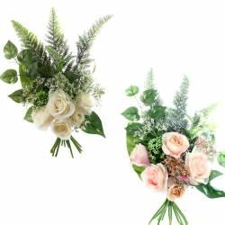 Bouquet flores artificiales rosas y helecho