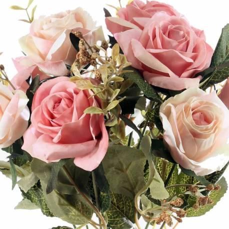 Ramo otoñal flores artificiales rosas