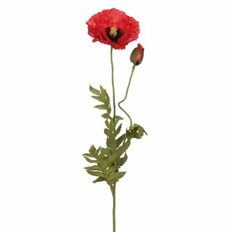Flor amapola artificial con capullo