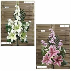 Ramo flores artificiales cementerio lilium y delphinium