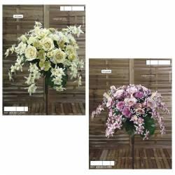 Ramo flores artificiales cementerio rosas y claveles con caida