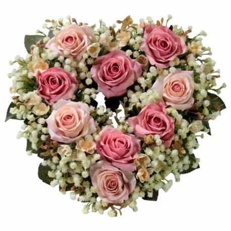 Corazon flores artificiales rosas rosa