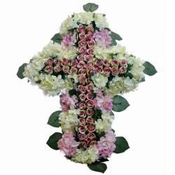 Creu flors artificials cementeri