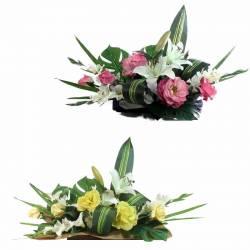 Jardinera flors artificials cementeri roses tacte natural